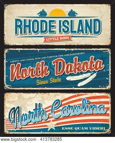 Usa North Dakota, Carolina And Rhode Island, America States, Vector Plate Signs. Us American States