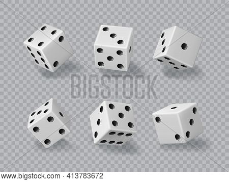 Dice, Casino Game Cubes, 3d Die White And Black Isolated Realistic Vector. Dice Or Craps For Poker G