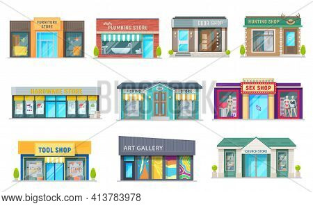 Store, Shop And Art Gallery Buildings With Vector Storefront Windows, Glass Front Doors And Awnings.