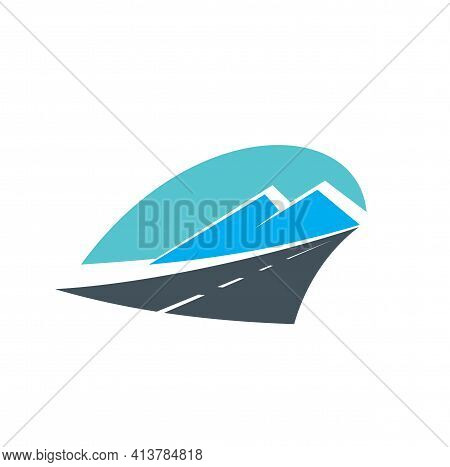 Road In Mountains Icon, Highway Travel And Transport Pathway, Vector. Road Path Way And Mountains Si