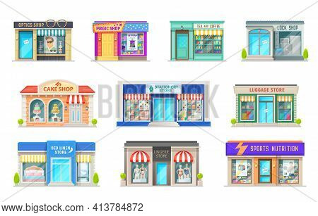 Shop, Store And Street Market Building Cartoon Vector Icons Of Retail Business Property. Isolated Ho