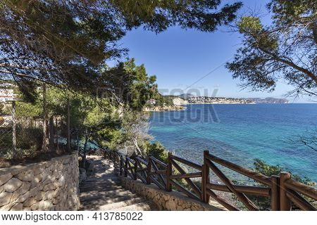 Mediterranean Pines In A City Park In Moraira Overlooking Playa El Portet Beach In Mediterranean Ali