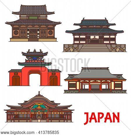 Japan, Temples And Shrines Architecture, Japanese Buddhist Landmarks, Vector Buildings. Dazaifu Temm