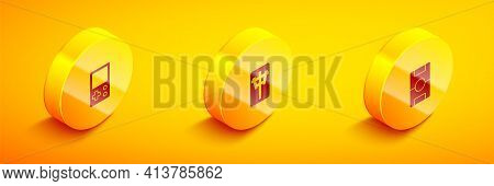 Set Isometric Tetris, Mahjong Pieces And Hockey Table Icon. Vector