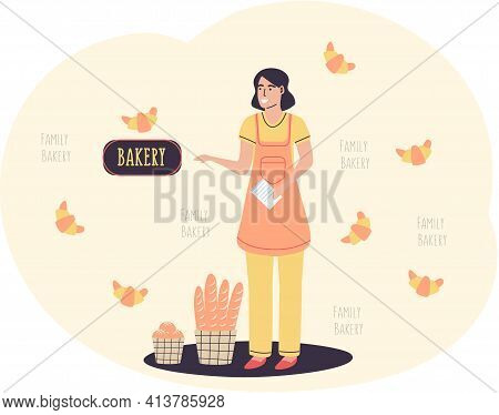 Family Bakery Concept With Happy Woman Baker Sells Fresh Sweet Croissants. Girl Baker With Bread