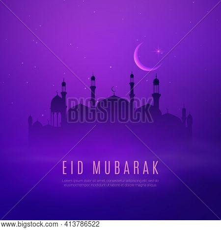 Eid Mubarak Holiday, Arabian City And Islam Religion Mosque Vector Design Of Ramadan Kareem. Arab Mu