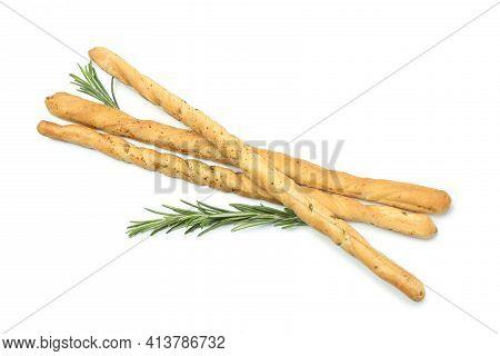 Tasty Grissini Breadsticks Isolated On White Background