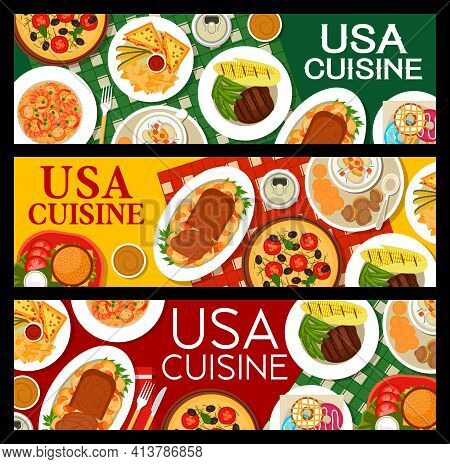 American Cuisine Banners, Food Menu For Restaurant And Cafe Lunch, Vector. Usa Authentic Dishes And
