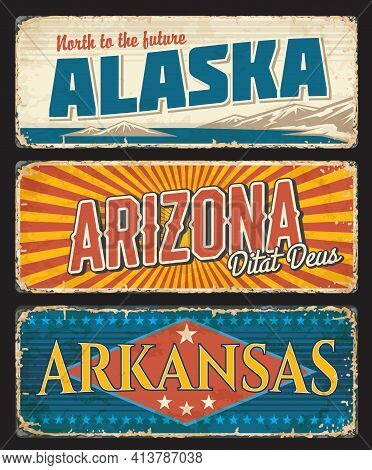 American States Alaska, Arizona And Arkansas Vector Vintage Banners, Signs For Travel Destination. U