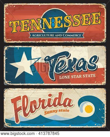 Usa Texas, Florida And American State Tennessee States Plates, Vector Grunge Signs. Us American Stat