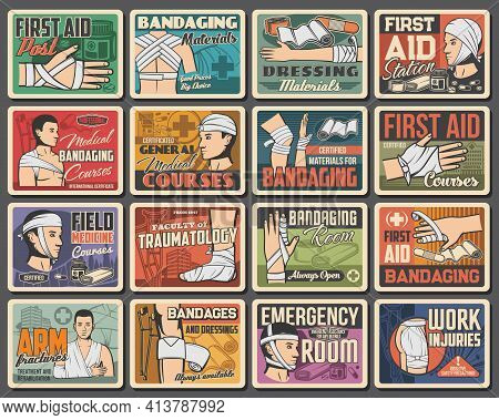 First Aid Medical Retro Posters, Trauma Bandaging And Injury Emergency Ward Room, Vector. Traumatolo