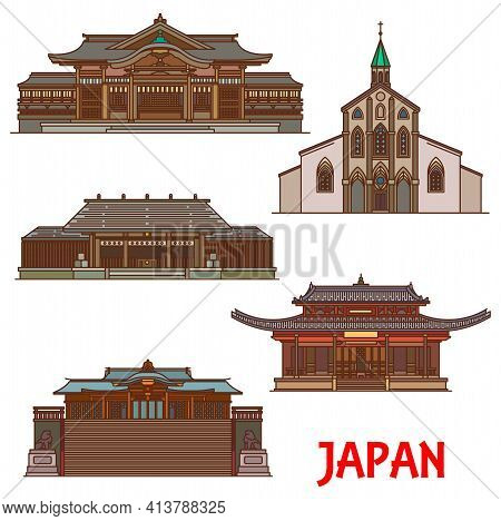 Japan Architecture And Landmarks, Temples And Pagodas, Vector Japanese Buildings. Japan Travel Landm