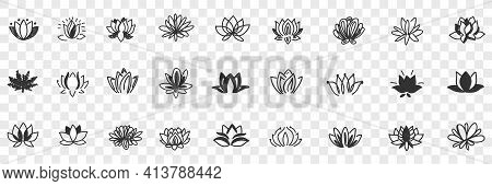 Lotus Flowers Pattern Doodle Set. Collection Of Hand Drawn Natural Floral Pattern Of Blooming Lotus