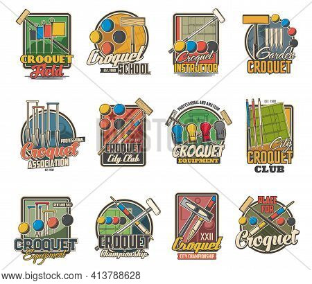 Croquet Sport Game Ball, Mallet And Wicket Isolated Vector Icons. Croquet Court With Hoops, Colorful