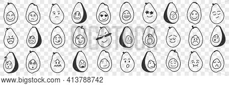 Funny Avocado Emoji Doodle Set. Collection Of Hand Drawn Various Avocado Fruits With Funny Cute Face