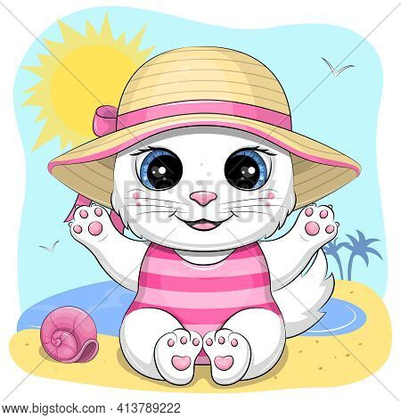 Cute Cartoon Cat In Summer Hat And Swimwear On Beach. Summer Vector Illustration With Animal.
