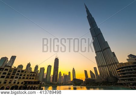 Dubai, United Arab Emirates - 04 December, 2018: View Of Burj Khalifa And Dubai Mall In The Center O