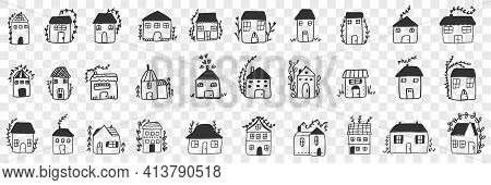 Buildings And Houses Doodle Set. Collection Of Hand Drawn Various Facades Of Building Houses For Fam