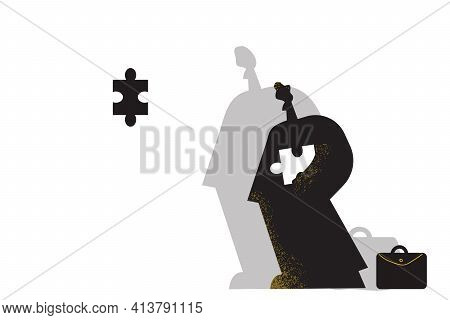 Completing Task, Business Strategy, Success Concept. Businessman Standing With Piece Of Puzzle And C