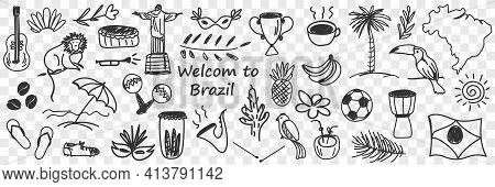 Brazilian Traditional Symbols Doodle Set. Collection Of Hand Drawn Brazilian Soccer Ball, Coffee Mon
