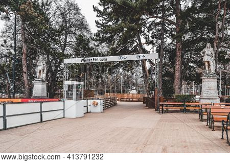 Vienna, Austria - Feb 7, 2020: Entrance To Empty Rink Outside City Hall With View Of Burgtheater Acc