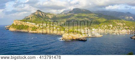 Panorama Of Port Soller In Mallorca, Balearic Islands, Spain
