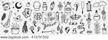 Esoteric Witchcraft Attributes Doodle Set. Collection Of Hand Drawn Witch Tools Occult Objects Hats