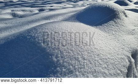Snow And Drifts In Winter Close Up