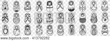 Russian Doll Matryoshka Doodle Set. Collection Of Hand Drawn Various Russian Traditional National Do