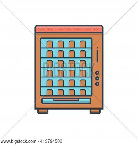Color Illustration Icon For Vending Machine Merchandise Trading Appliances