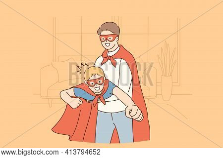 Happy Childhood And Parenthood, Father And Son Concept. Smiling Happy Son And Father In Masks And Co