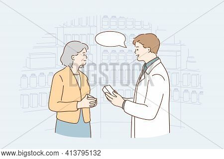 Drugstore Assistant During Work Concept. Young Smiling Male Pharmacist Cartoon Character Woking With