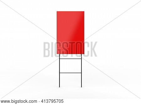 Blank Red Real Estate Sale Banner Sign Board Mock Up, Blank Yard Sign Mockup Template On Isolated Wh