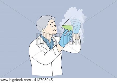 Chemical Experiment, Science, Research Concept. Man Chemist Cartoon Character Standing Feeling Crazy