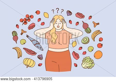 Stress, Dieting, Weight Loss Concept. Fat Girl In Fitness Costume Wanting To Start Diet And Healthy