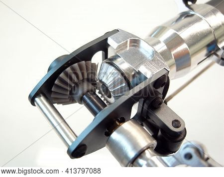 Bevel Gear. Gear Transmission Rotation Angle Of Helicopter Rc. Close Up
