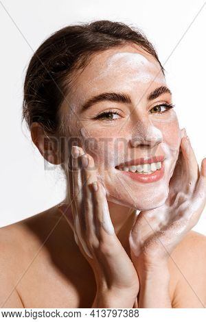 Beauty Woman Using Cleansing Foam For Fresh And Hydrated Skincare Routine, Treating Face From Acne A