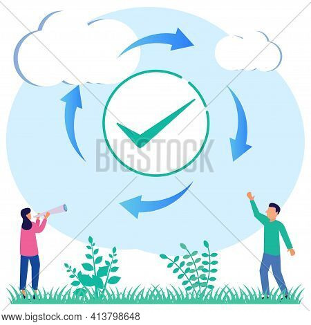 Modern Style Vector Illustration. Refresh Is Complete Or Reload Is Complete As The Task Repeats The