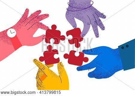 Teamwork, Cooperation, Business Collaboration Concept. Hands Of Business People Partners Trying To C