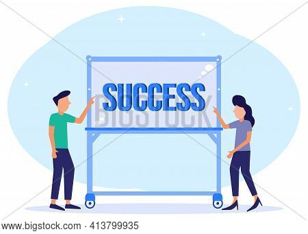 Creative Illustration Vector Graphic Of Success, People Start The Day To Achieve Their Goals Towards