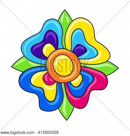 Decorative Ornamental Flower. Mexican Ceramic Cute Naive Art.