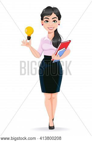 Beautiful Successful Business Woman Cartoon Character Having A Good Idea. Usable As Manager, Secreta