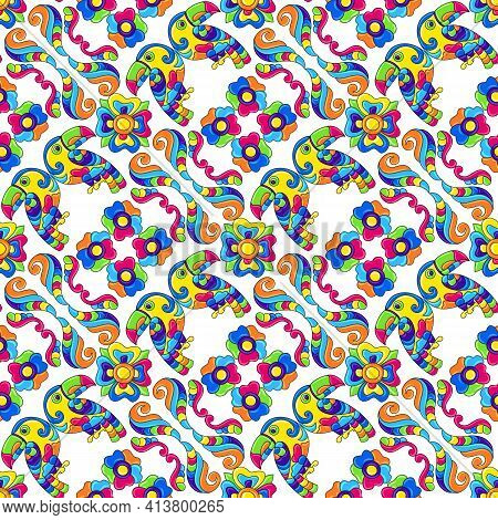Mexican Talavera Seamless Pattern With Tropical Toucans. Traditional Decorative Objects.