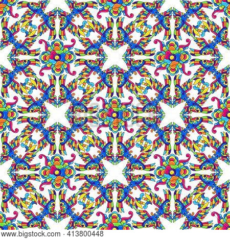 Mexican Talavera Seamless Pattern With Tropical Birds. Traditional Decorative Objects.
