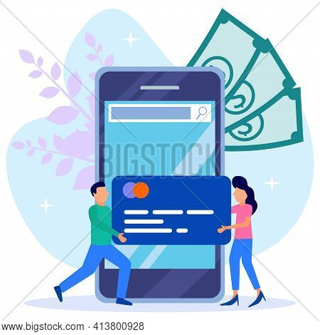 Vector Illustrations, Financial Transactions, Non-cash Transactions In Payments. Postal Terminals An