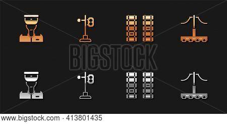 Set Train Conductor, Traffic Light, Railway, Railroad Track And Icon. Vector