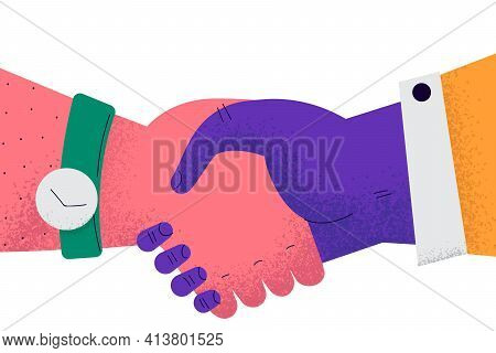 Handshake, Deal, Business Agreement Concept. Close-up Of Business People Partners Handshake After Su
