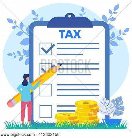 Vector Illustration Of A Business Concept. Paying Taxes Every Year, Obedient Entrepreneurs Pay Taxes