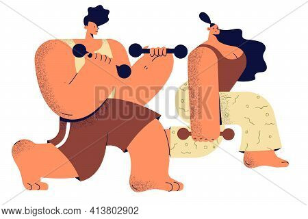 Healthy Lifestyle And Workout At Home Concept. Young Positive Couple Cartoon Characters Doing Exerci