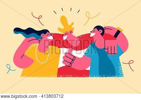 Happy Friendship Day Celebration Concept. Group Of Young Cheerful People Cartoon Characters Standing